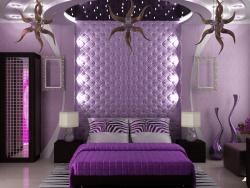 Ремонт спальни: Дизайн интерьера спальни. Цвет фиолетовый.
