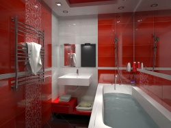 <p><em><strong>Ремонт и отделка ванной: ванная комната в красный тонах.</strong></em></p>