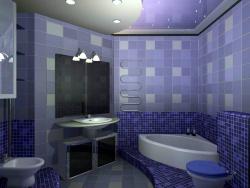 <p><em><strong>Ремонт ванной:&nbsp; ванная комната в сине-фиолетовых тона.</strong></em></p>