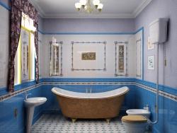 <p><strong><em>Ремонт ванной: ванная комната в синих тонах.</em></strong></p>