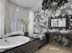 Ремонт ванной: дизайн ванной комнаты - черный цвет.