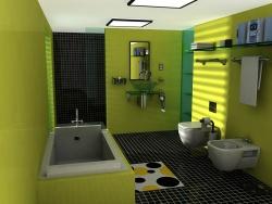 Ремонт ванной: ванная комната в салатовых тонах.