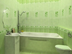 Дизайн плитки в ванной, цвет салатовый. Ремонт и отделка.
