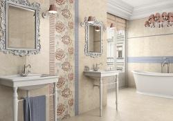 Облицовка стен ванной кафелем.  Цвет бледно-бежевый. Ремонт-и-отделка-ванной.