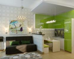 <p><em><strong>Дизайн маленькой кухни совмещенной с гостиной.</strong></em></p>