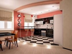 <p><em><strong>Устройство кухни совмещенной с гостиной на подиуме.</strong></em></p>