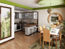 <p><em><strong>Интерьеры гостиных совмещенных с кухней - с элементами Дерева. </strong></em></p>