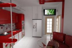 Ремонт и отделка кухни: современная кухня в красный тонах.
