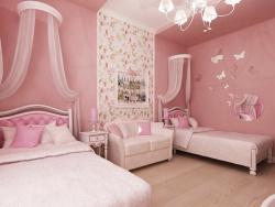 <p><em><strong>Дизайн детской комнаты.&nbsp; Детская для девочки в постельно розовый тонах.</strong></em></p>